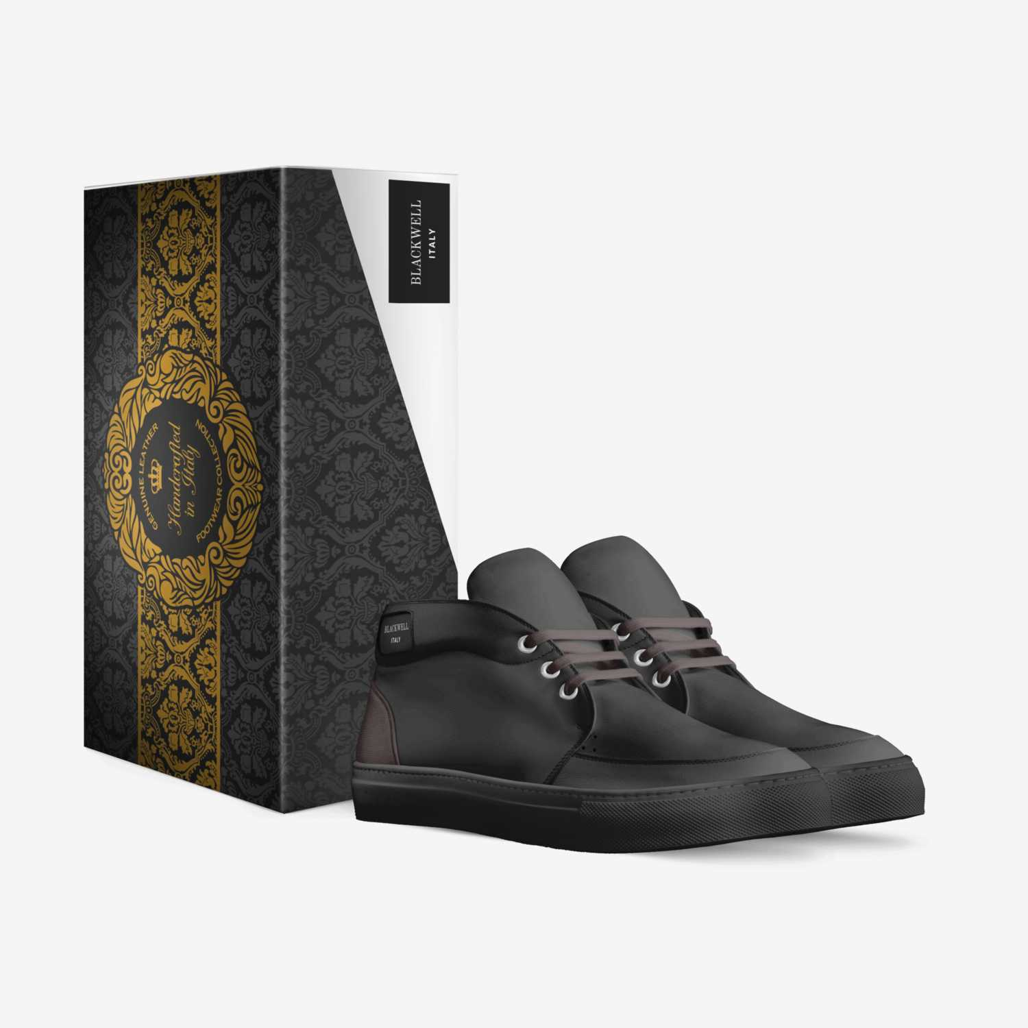 Dark Black custom made in Italy shoes by Lawrence D. Blackwell | Box view